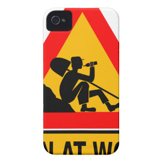 Funny Man at work sign iPhone 4 Covers