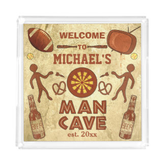 Funny Man Cave with Your Name Custom Acrylic Tray