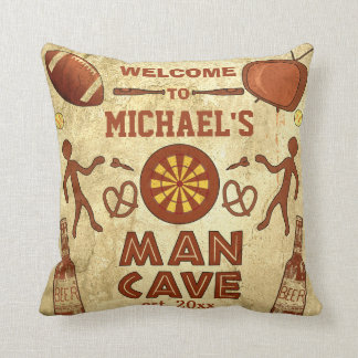 Funny Man Cave with Your Name Custom Cushion