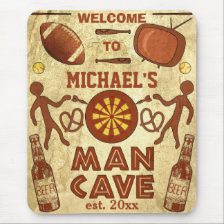 Funny Man Cave with Your Name Custom Mouse Pad