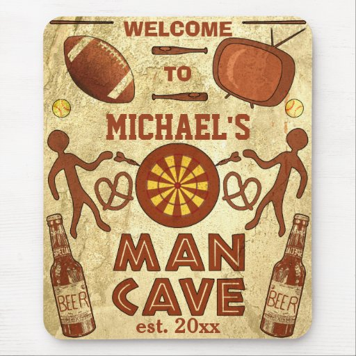 Funny Man Cave with Your Name Custom Mouse Pads