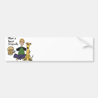 Funny Man with his Dog and Beer Cartoon Bumper Sticker