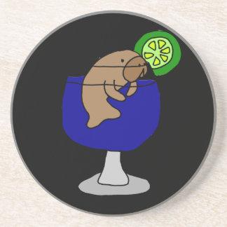 Funny Manatee in Margarita Glass Coaster
