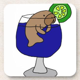 Funny Manatee in Margarita Glass Drink Coasters