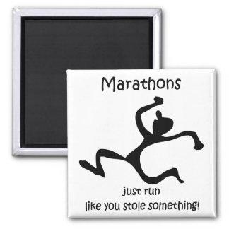 Funny marathon square magnet