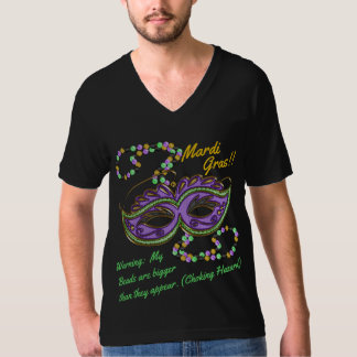Funny Mardi Gras Mask and Beads Personalized T-Shirt