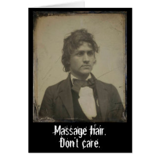 Funny Massage Hair Don't Care Vintage Photo Card