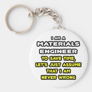 Funny Materials Engineer T-Shirts and Gifts Basic Round Button Key Ring