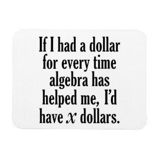 Funny Math/Algebra Quote - I'd have x dollars Magnet