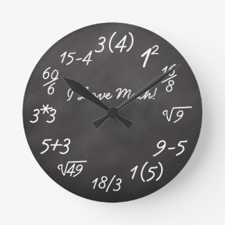 Funny Math Geek Round Clock