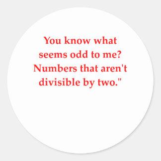 funny math joke round sticker