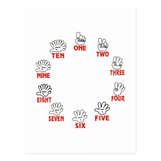 Funny maths: Counting on hands and fingers Postcard