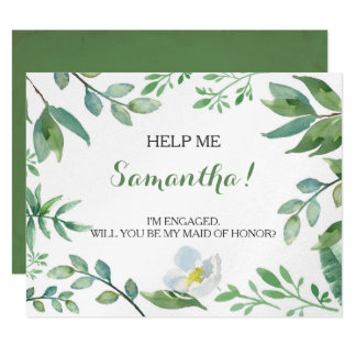Funny MATRON OF HONOR PROPOSAL card, Greenery Card
