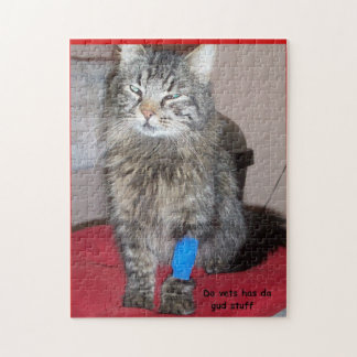 Funny Medicated cat meme or your picture Jigsaw Puzzle