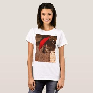Funny Meerkat Sitting Under Umbrella, T-Shirt