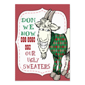 FUNNY MEH Goat in his UGLY Sweater Christmas Party Card