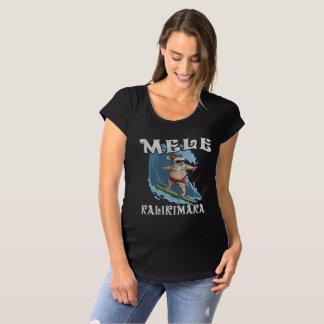 Funny Mele Kalikimaka Santa Surfing Christmas Shir Maternity T-Shirt