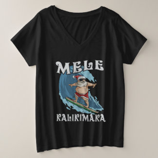 Funny Mele Kalikimaka Santa Surfing Christmas Shir Plus Size V-Neck T-Shirt