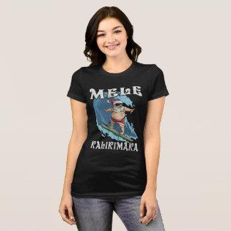 Funny Mele Kalikimaka Santa Surfing Christmas Shir T-Shirt