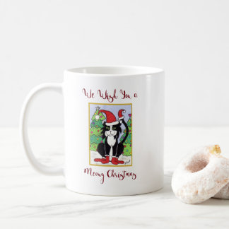 Funny Meowy Christmas Cute Tuxedo Cat Holiday Coffee Mug