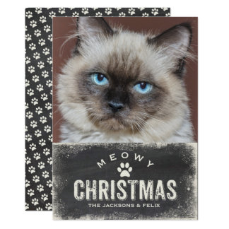 Funny Meowy Christmas Holiday Cat Photo Card