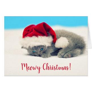 Funny Meowy Christmas Kitten Card