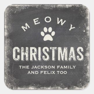 Funny Meowy Merry Christmas Cat Paw Custom Square Sticker