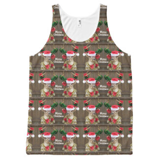 Funny Merry Christmas Buck Whitetail Deer All-Over Print Singlet