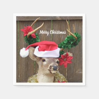 Funny Merry Christmas Buck Whitetail Deer Paper Serviettes