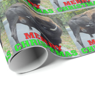 Funny Merry Christmas Bull Bison Licking Testicles Wrapping Paper
