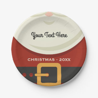 Funny Merry Christmas Santa Claus Suit Holiday 7 Inch Paper Plate
