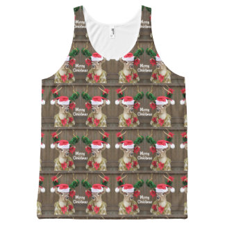 Funny Merry Christmas Whitetail Deer Buck All-Over Print Singlet