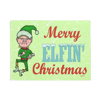 Funny Merry Elfin Christmas Bah Humbug Holiday Elf Doormat