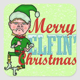 Funny Merry Elfin Christmas Bah Humbug Square Sticker