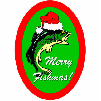 funny Merry Fishmas Christmas Photo Sculpture Decoration