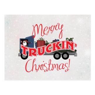 Funny Merry Truckin Christmas Postcard