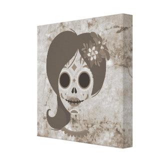 Funny Mexican Women skull head Canvas Print