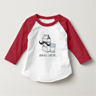 Funny Milk & Moustache Kids White T w/ Red Sleeves T-Shirt