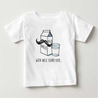 Funny Milk & Moustache - White Kids T-shirt