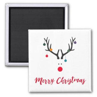 Funny minimalist Santa's reindeer on white Magnet