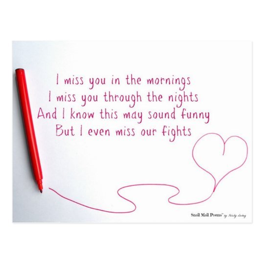 Funny Miss You Poem About Love And Fights Postcard Zazzlecomau