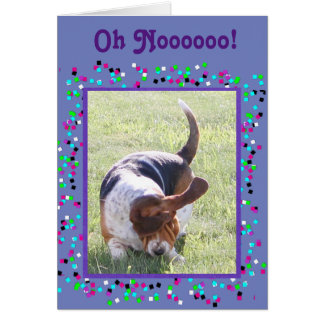 "Funny ""Missing You"" Card w/Cute Basset Hound"