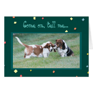 """Funny """"Missing You"""" Card w/Cute Basset Hounds"""