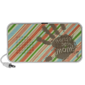 Funny Mom Gift; Peach & Forest Green Striped Travel Speakers
