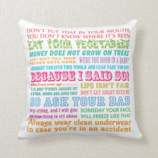 Funny Mom's Sayings White Pillow Throw Cushions