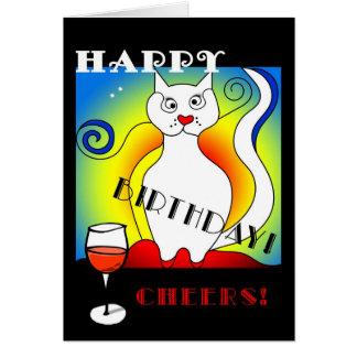 Funny Mondrian's Cat Birthday Card