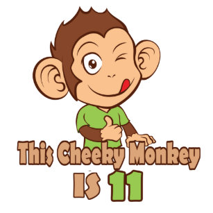 Funny Monkey 11 Year Old Birthday Card