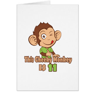 Funny Monkey 11 year old birthday Card