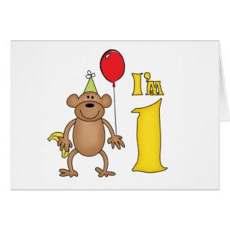 Funny Monkey 1st Birthday Note Card