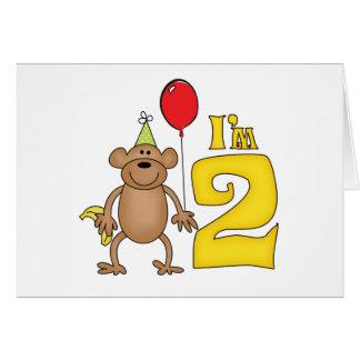 Funny Monkey 2nd Birthday Note Card